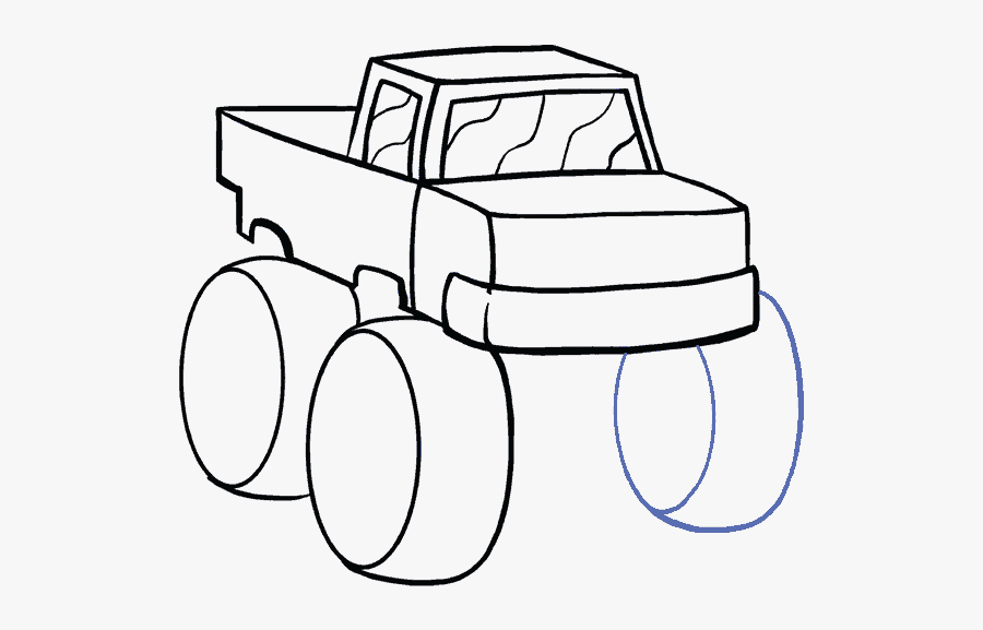 How To Draw Monster Truck - Easy Monster Truck Drawing, Transparent Clipart