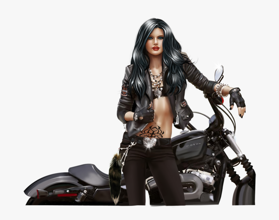 Pinup Drawing Motorcycle - Pin Up Motorcycle Drawing, Transparent Clipart