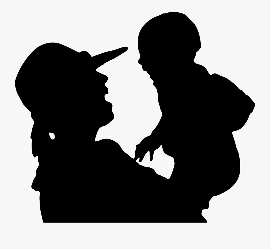 Mom And Baby Black Icon Png, Transparent Clipart
