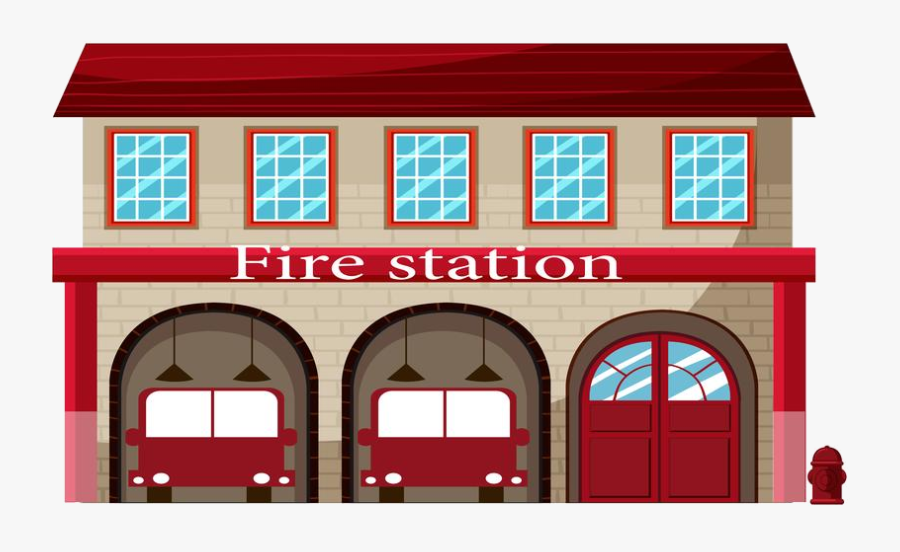 Fire Station A On White Background Free Vectors Transparent - Clip Art Fire Station, Transparent Clipart