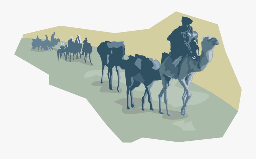 Vector Illustration Of Beast Of Burden Camel Dromedary - Long Camel Caravan Vector, Transparent Clipart