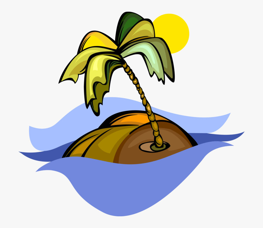 Vector Illustration Of Deserted Tropical Island With - Ilha Vetor Png, Transparent Clipart