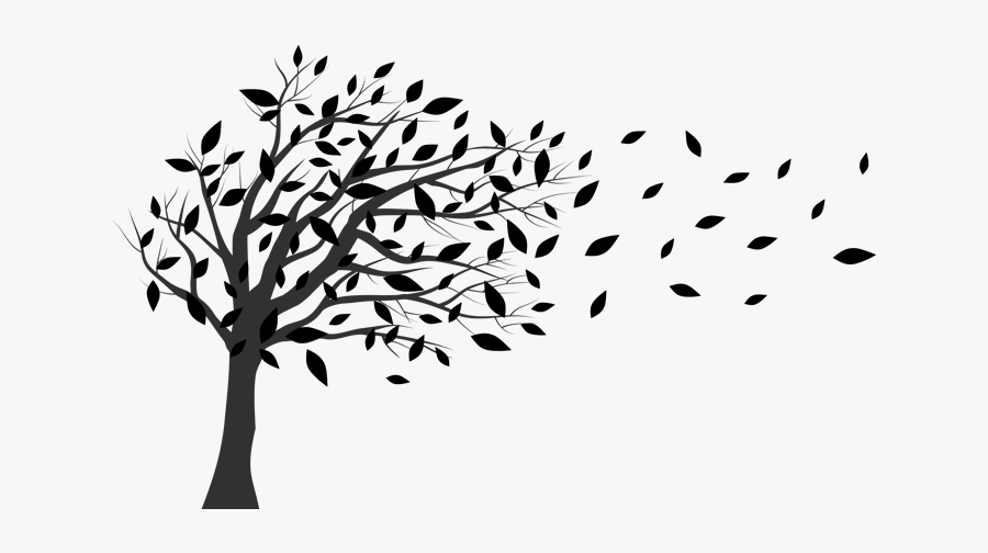 Tree In The Wind Blowing - Tree Blowing In The Wind Silhouette, Transparent Clipart