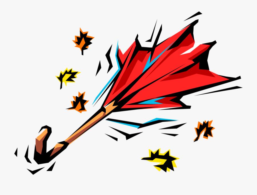 Vector Illustration Of Wind Swept Umbrella Or Parasol - Vent De Tempête Gif, Transparent Clipart