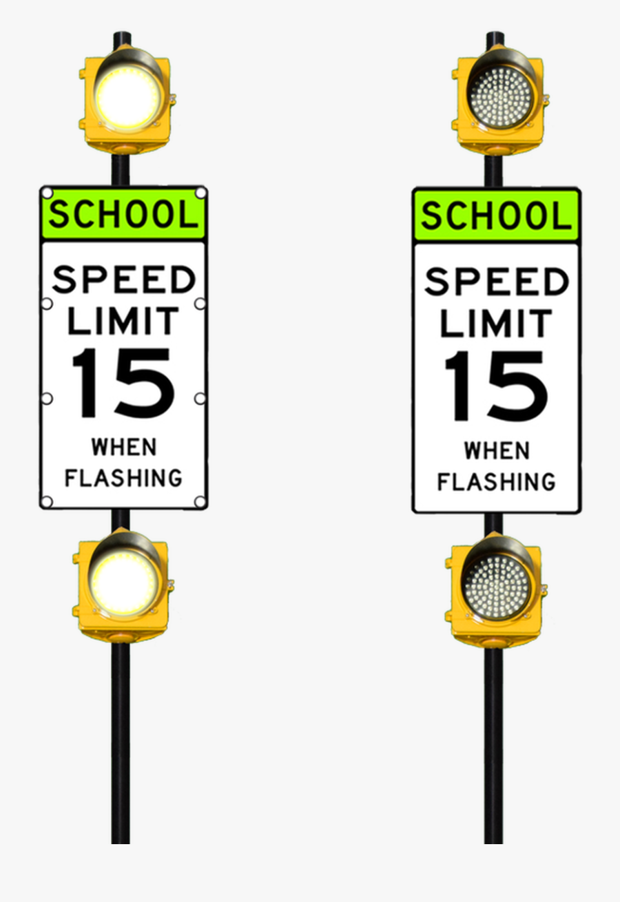 Transparent Speed Limit Sign Png - School Speed Limit Flashing Sign, Transparent Clipart