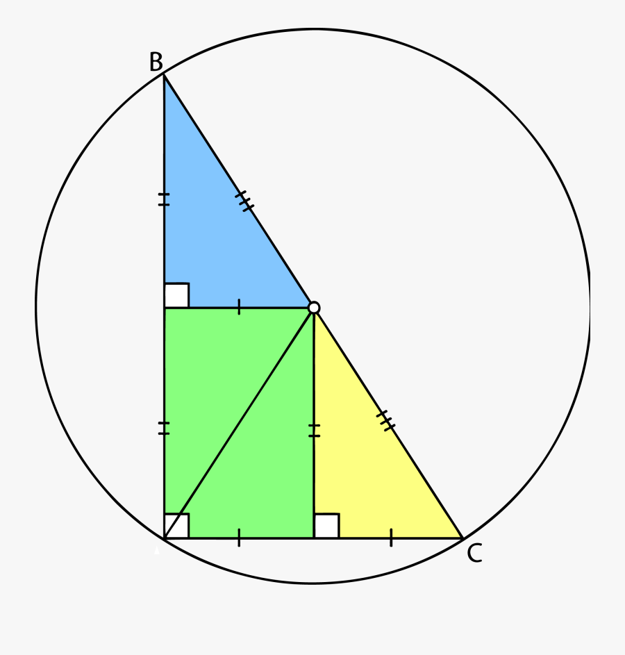 Right Triangle Mid Point Along Long Edge And Circumcenter - Circumcentre Of Right Angled Triangle, Transparent Clipart