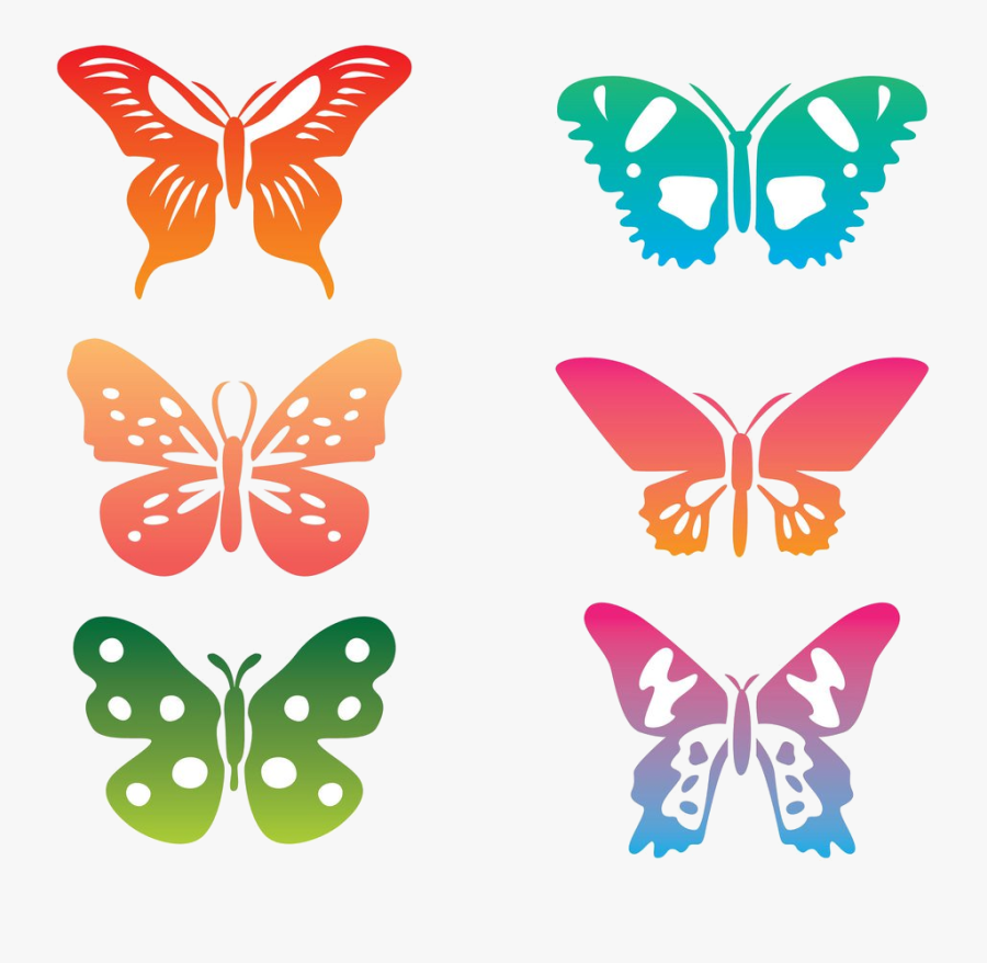 Butterfly Colorful Clipart Transparent Png - Clip Art Colorful Butterflies, Transparent Clipart