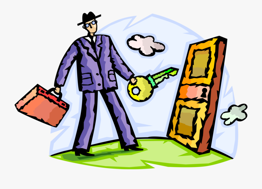Vector Illustration Of Businessman With Key Opens Locked, Transparent Clipart