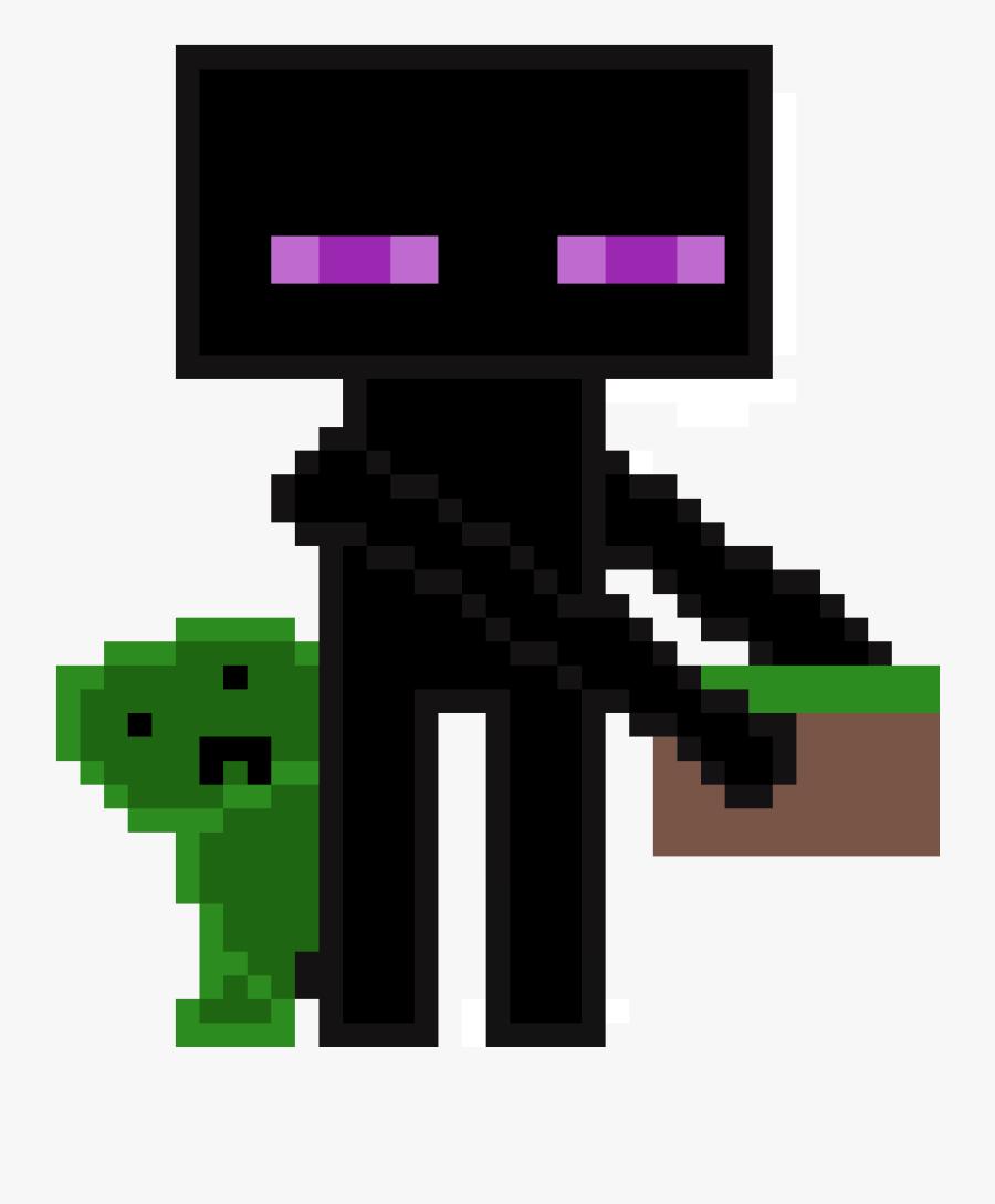 Enderman And Creeper Pixel Art Gun Fire Free Transparent
