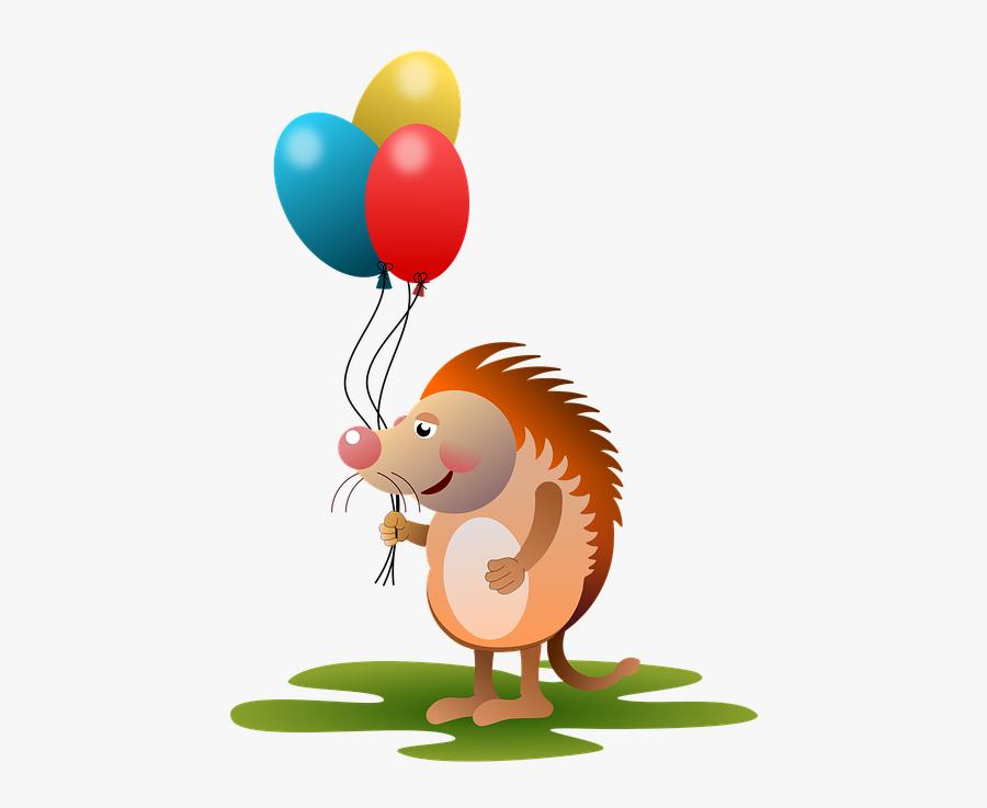 Hedgehog, Animal, Animals, Balloons, Amorous, Comic - Animal Birthday Png, Transparent Clipart