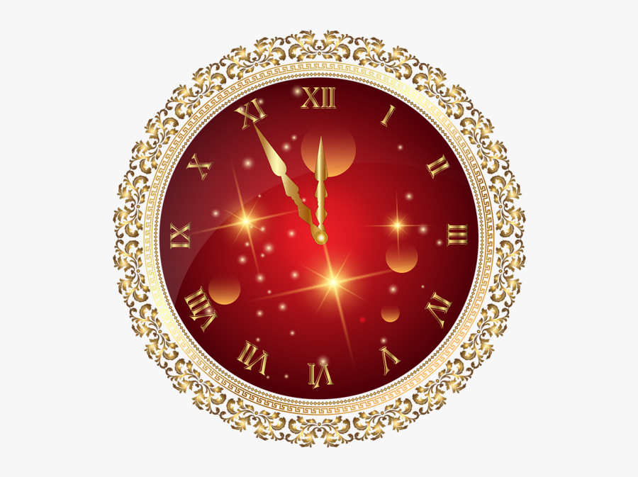 """Red New Year""""s Clock Png Transparent Clip Art Image - New Year Clock Png, Transparent Clipart"""