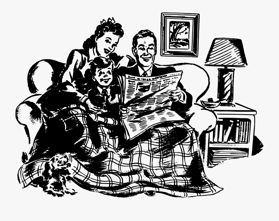 Human Behavior,recreation,art - Family In Living Room Clipart Black And White, Transparent Clipart