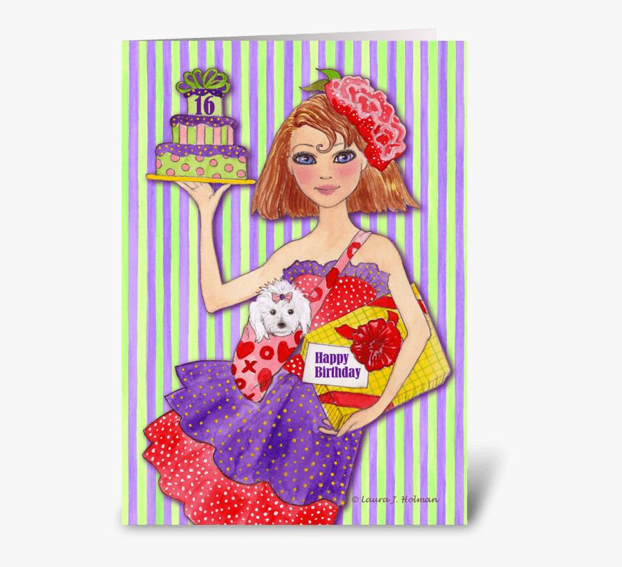 Happy Birthday Sweet Sixteen Greeting Card - Happy Birthday Sweet Sixteen, Transparent Clipart