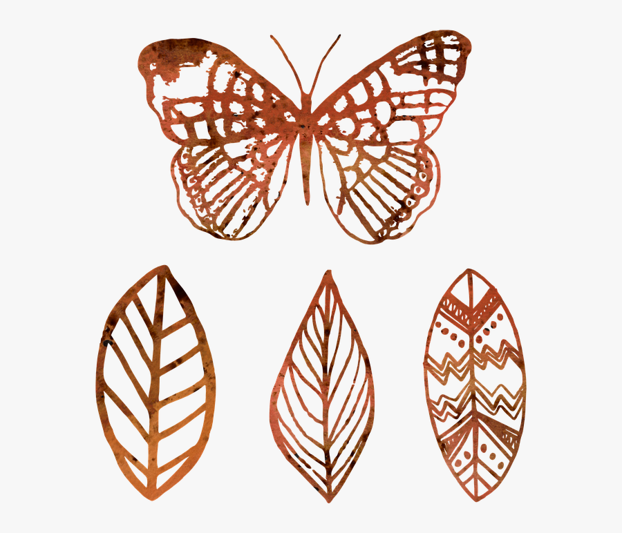Butterfly, Leaf, Outline, Mandala, Syle, Grunge, Brown - Swallowtail Butterfly, Transparent Clipart