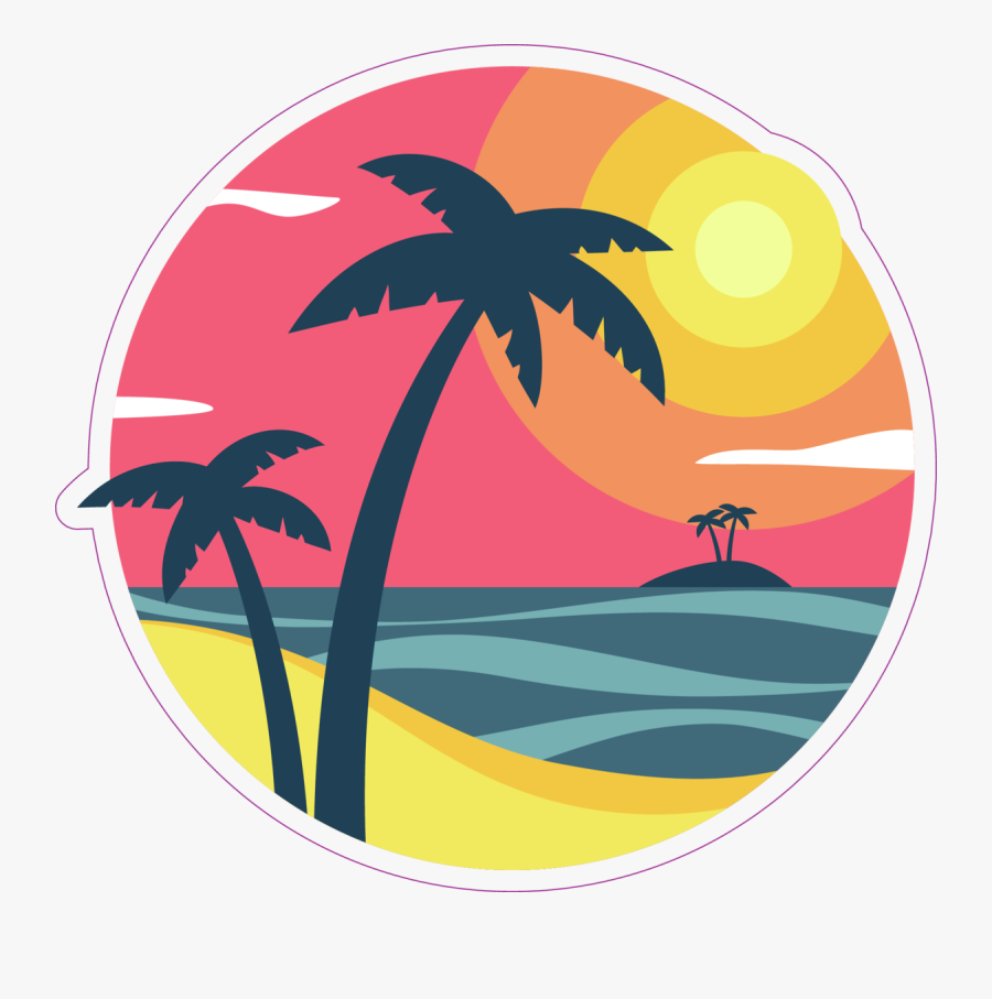 Sunrise With Palm Trees On A Tropical Island Sticker - Island Palm Tree Clipart, Transparent Clipart