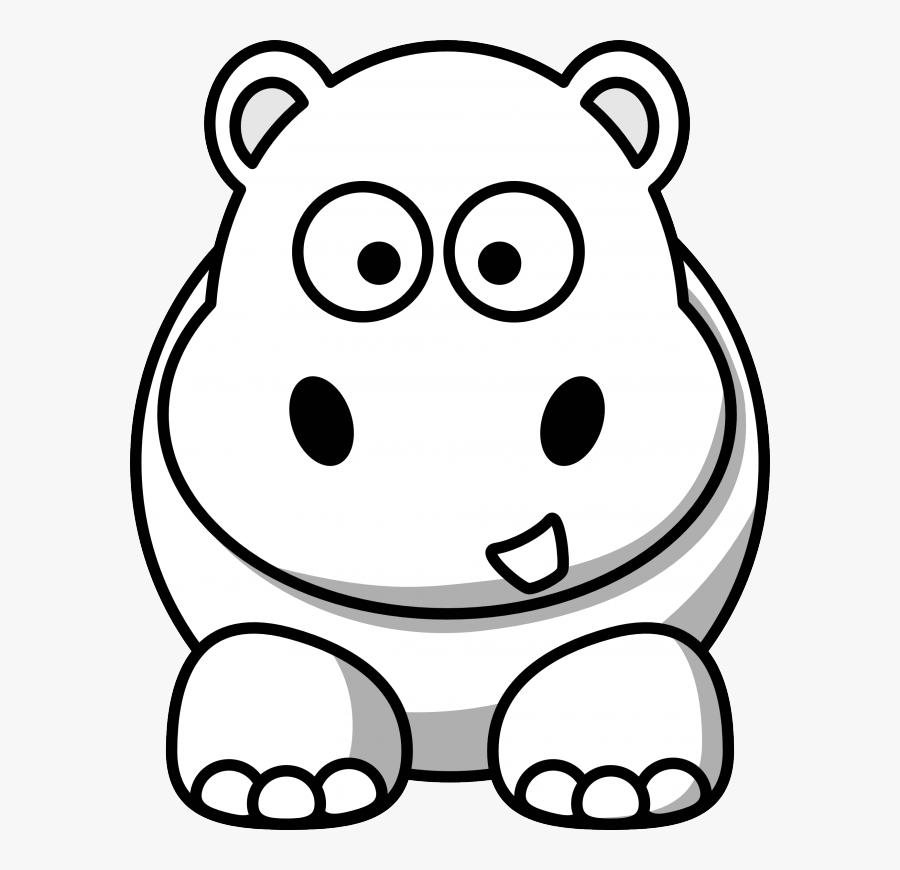 Hippo Black White Line Art Google Coloring Book Colouring - Cartoon Hippo Face Drawing, Transparent Clipart