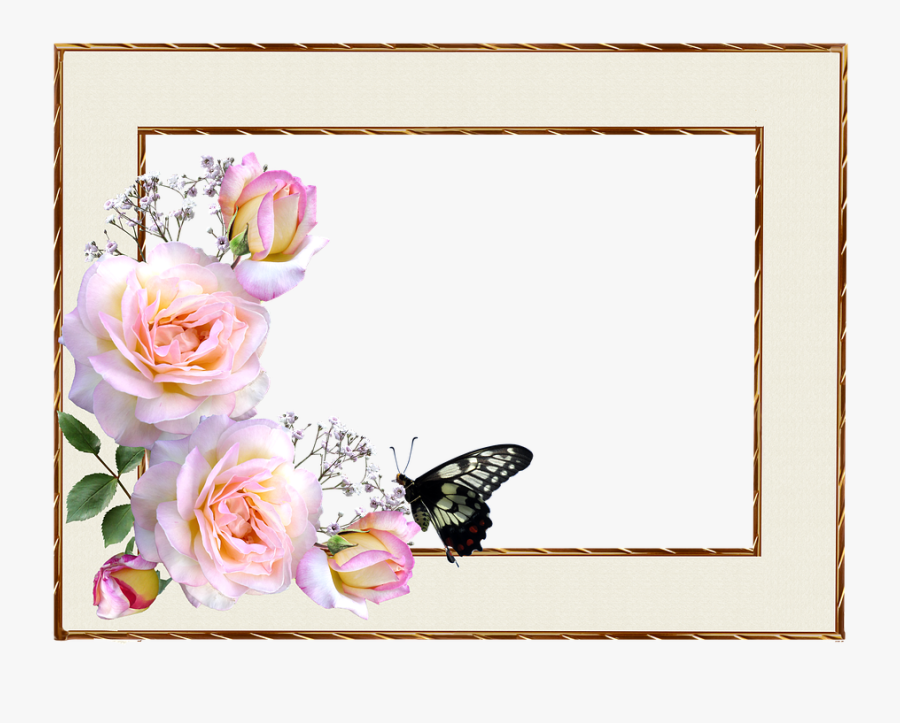 Frame, Border, Roses, Butterfly, Design - Border With Flowers And Butterflies, Transparent Clipart