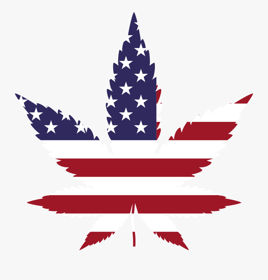 If Trump Keeps His Word States Act Could End Cannabis - Cannabis Leaf Usa Flag, Transparent Clipart