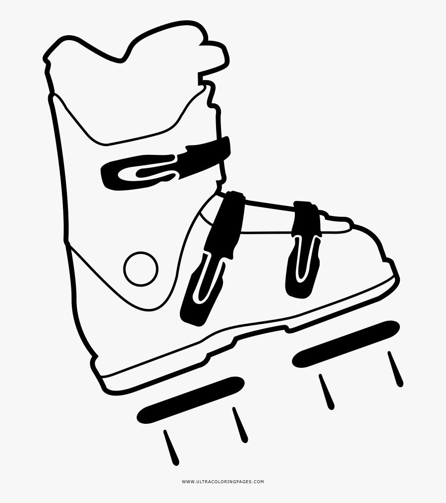 Ski Boot Coloring Page Clipart , Png Download - Ski Boots Png Draw, Transparent Clipart