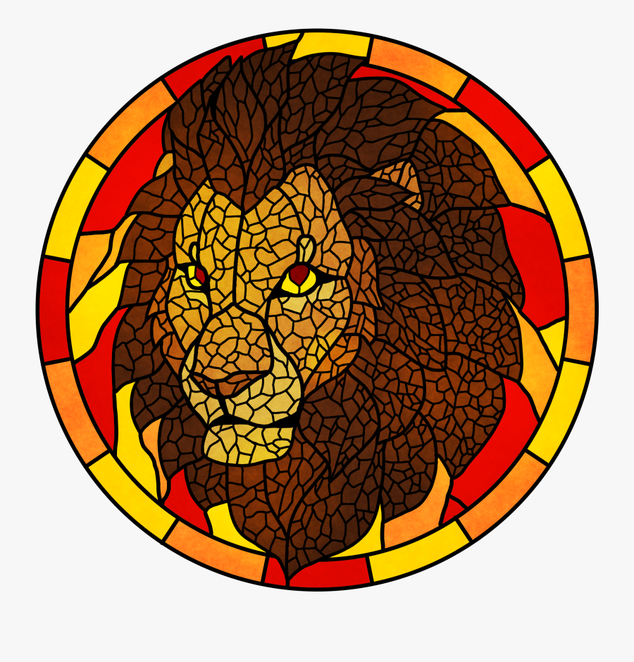 Stained Glass Lion - Stained Glass, Transparent Clipart