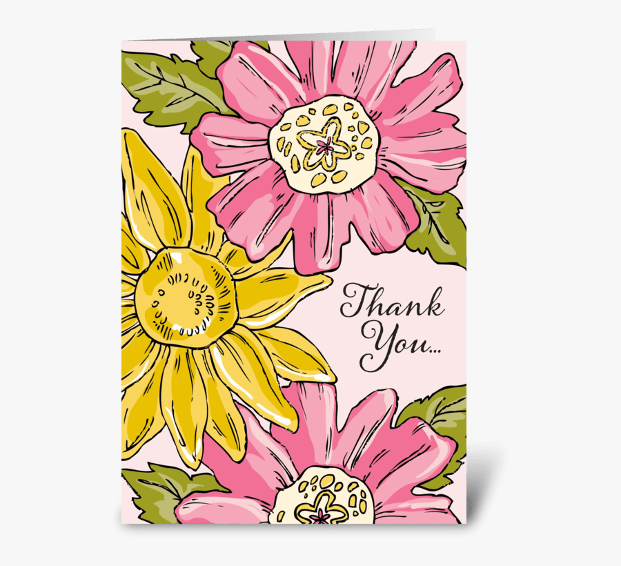 Floral Thank You Greeting Card - Sunflower, Transparent Clipart