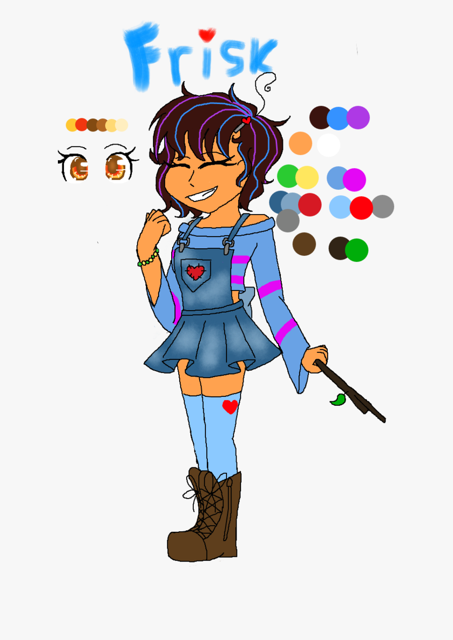 Collection Of Free Frisk Drawing Overalls Download - Draw Overalls On An Anime Character, Transparent Clipart