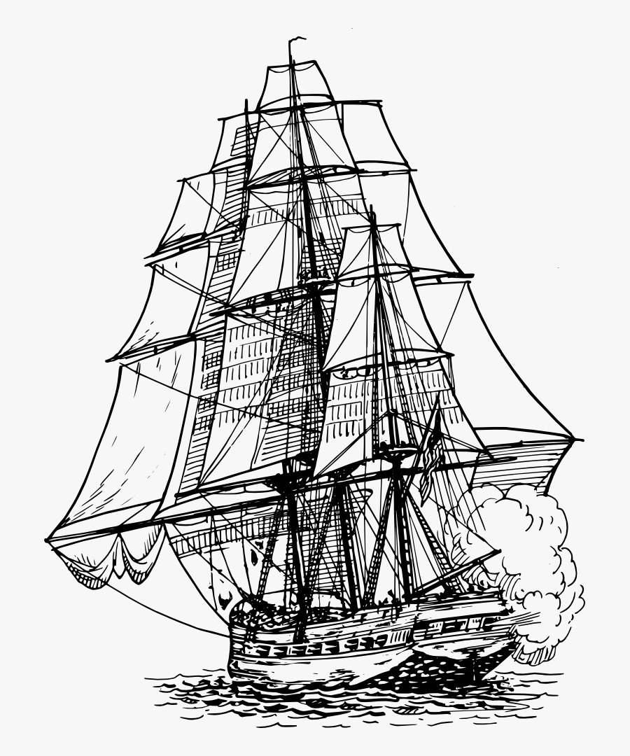 Frigate - Ship Drawing Png, Transparent Clipart