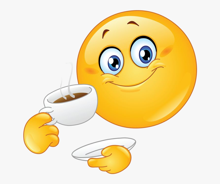 Good Morning Send Along This Smiley To Wish Someone - Emoji Drinking Coffee, Transparent Clipart