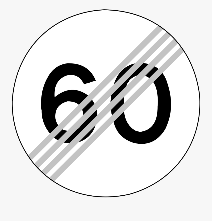 Cliparts Speed Limit 3 24, Buy Clip Art - End Of Speed Limit Sign 60km, Transparent Clipart