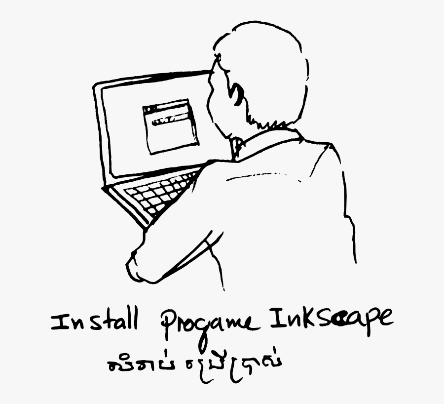 Inkscape Howto Session At Fossasia 1 - Computer And Person Drawing, Transparent Clipart