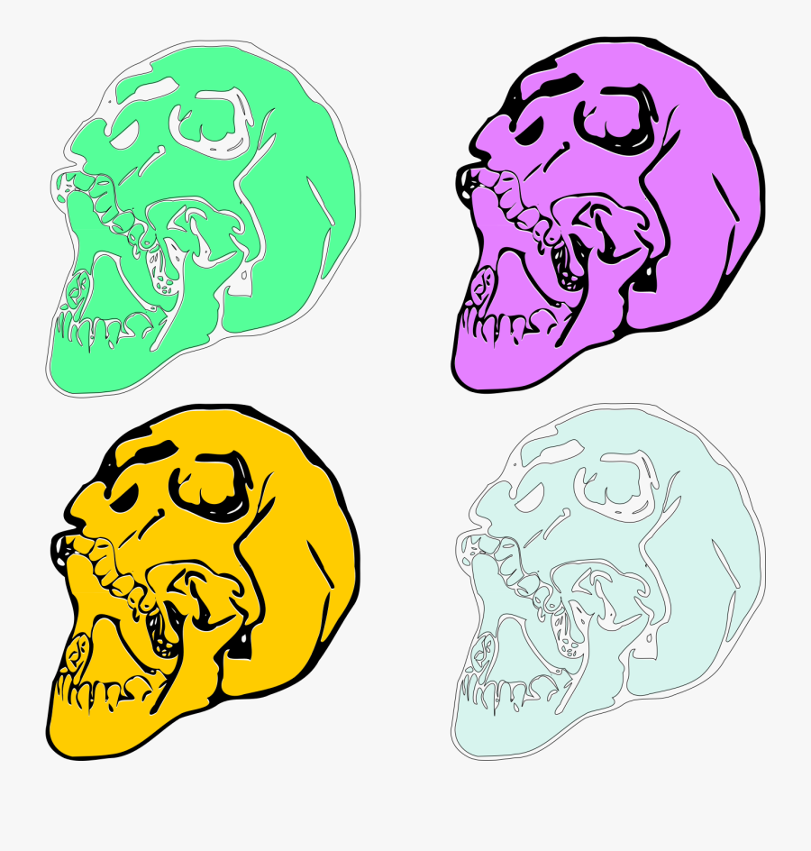 Pastel Skulls An Inkscape, Transparent Clipart