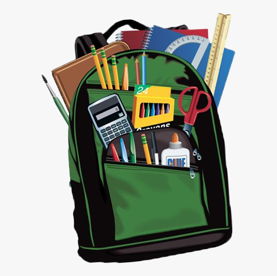 Back Packs And School Supplies, Transparent Clipart