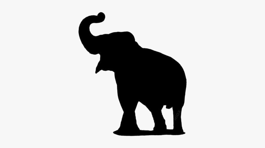 Elephant Png Images, Pics - Elephant Trunk Up Silhouette, Transparent Clipart