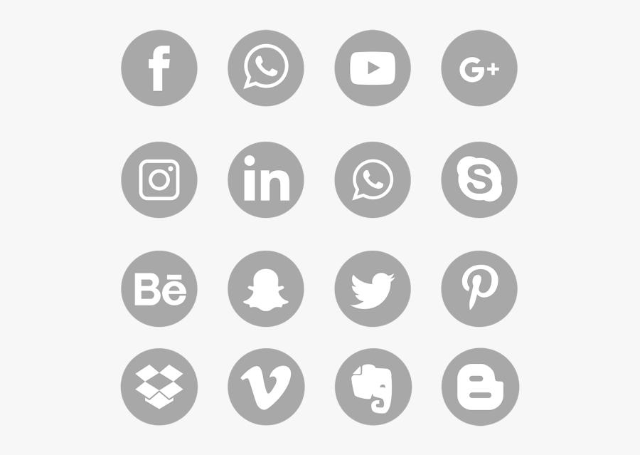 Social Media Icons Png Gray - Blue Social Media Icons Png, Transparent Clipart