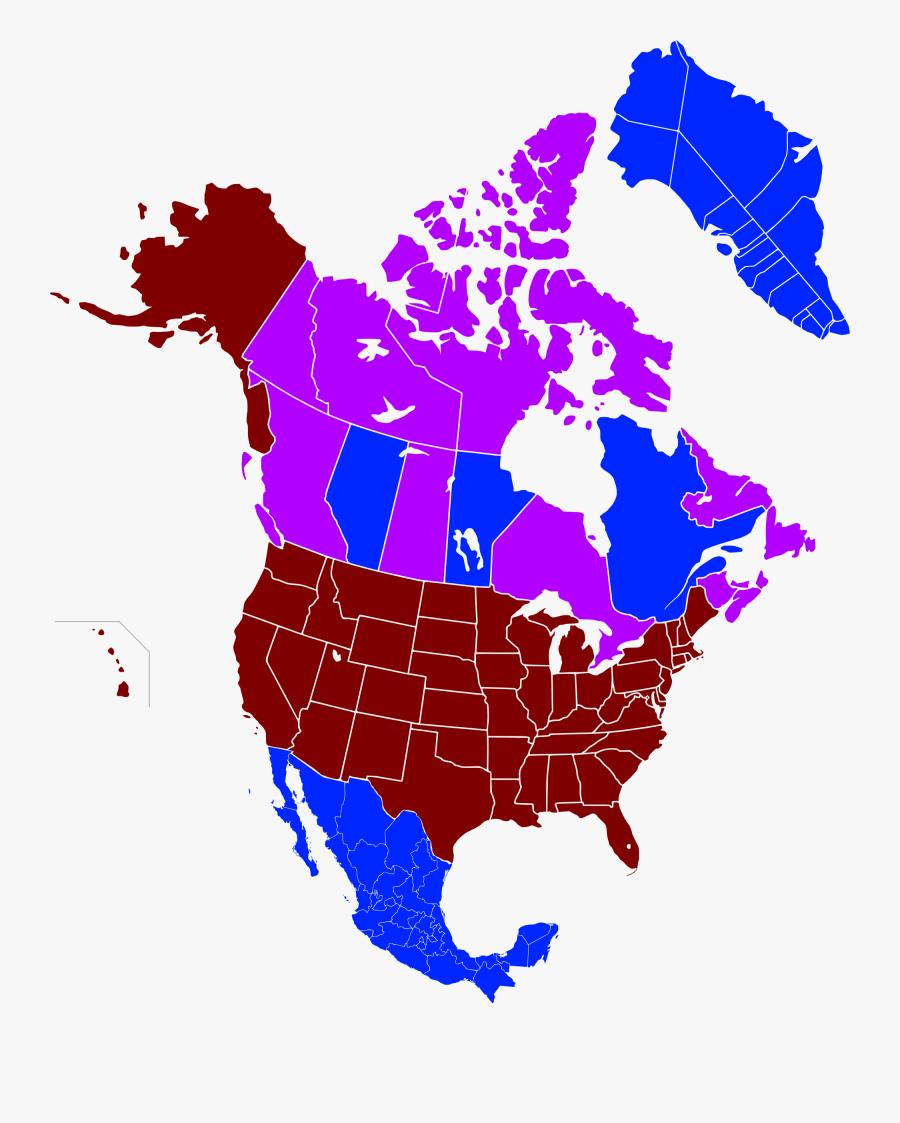 Transparent North America Clipart - Income Map Of North America, Transparent Clipart