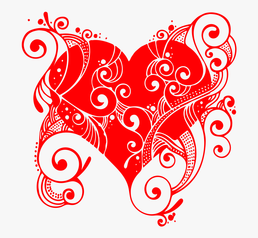 Swirl Heart Png Transparent - Free Vector And Heart Flourish Or Flourish Or Ornament, Transparent Clipart