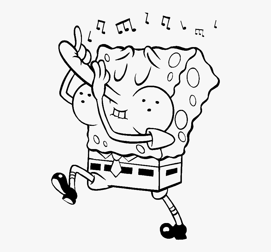 The Always Cheerful Spongebob Coloring Pages Spongebob - Spongebob Music Coloring Pages, Transparent Clipart