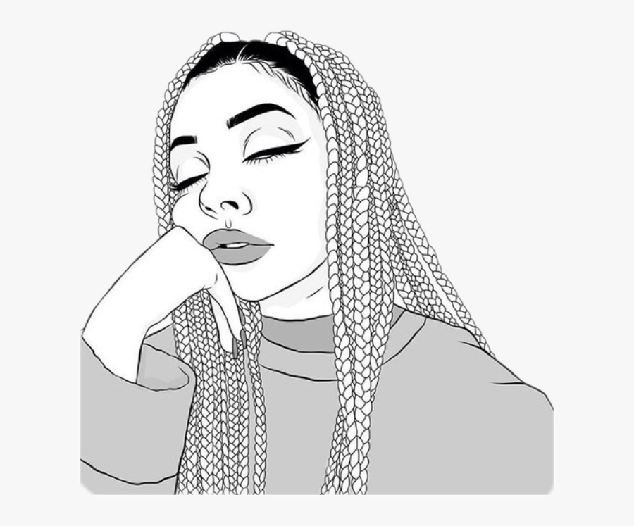 #outlinetumblr #girl #braids #boxbraids #cute #girly - Drawing Of Black Girl With Braids, Transparent Clipart
