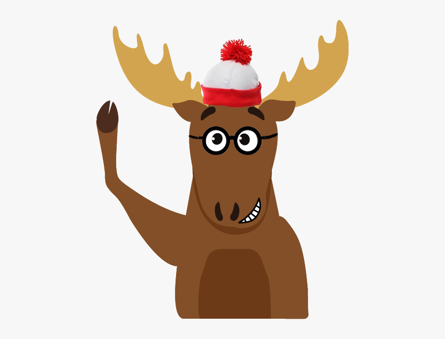Mason Waving With Waldo Hat - Moose With Top Hat, Transparent Clipart
