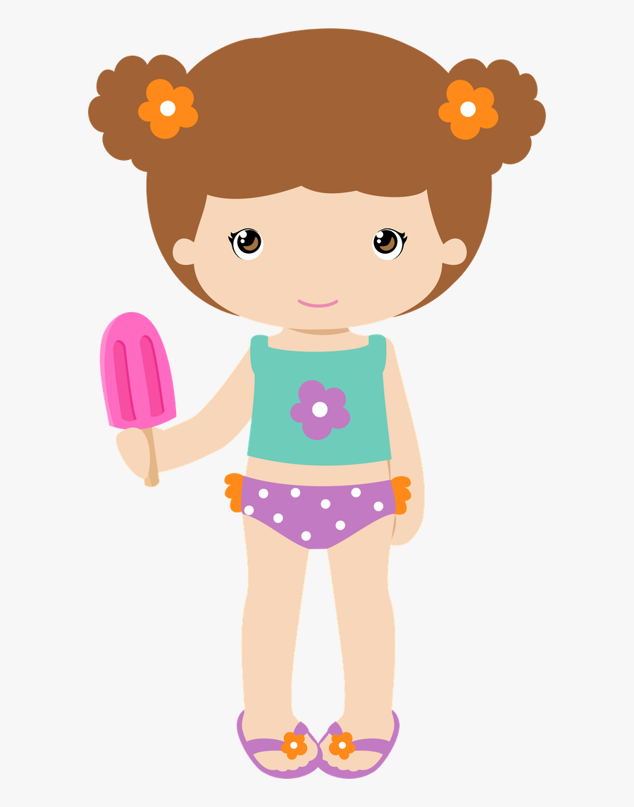 Cute Girl With And - Girls Pool Party Clipart, Transparent Clipart