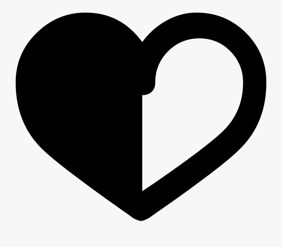 Half Black Half White Heart, Transparent Clipart