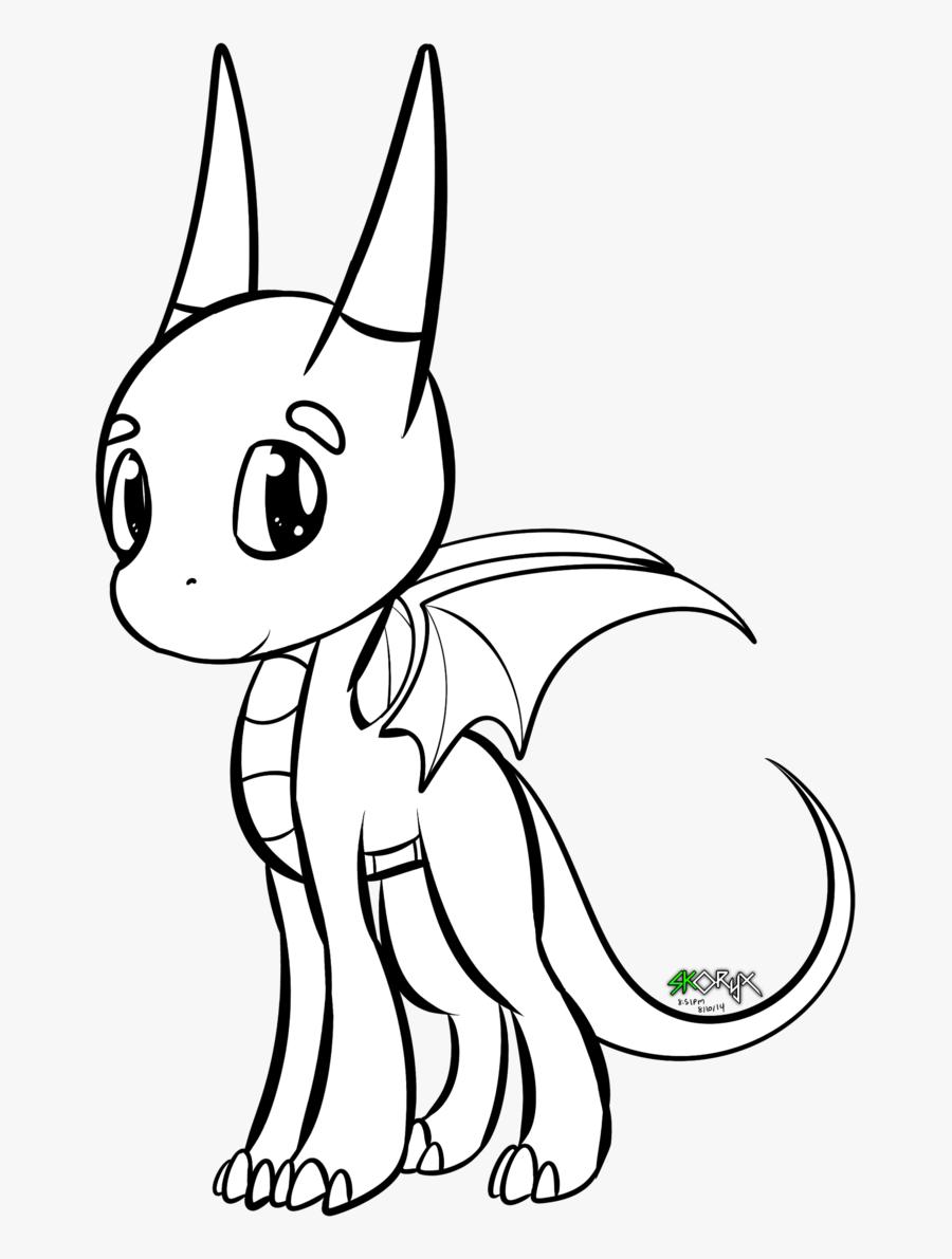 Chibi Dragon Drawing - Chibi Cute Dragon Base, Transparent Clipart