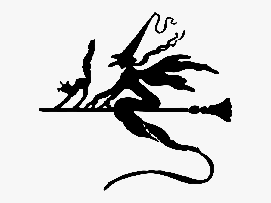Silhouette Broom, Witch, Flying, Cat, Halloween, Silhouette - Witch On Broom Stick Moving, Transparent Clipart