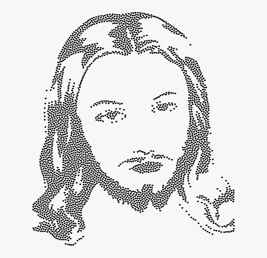 Jesus Christ Face Silhouette Hearts Black - Jesus Christ Face Png, Transparent Clipart