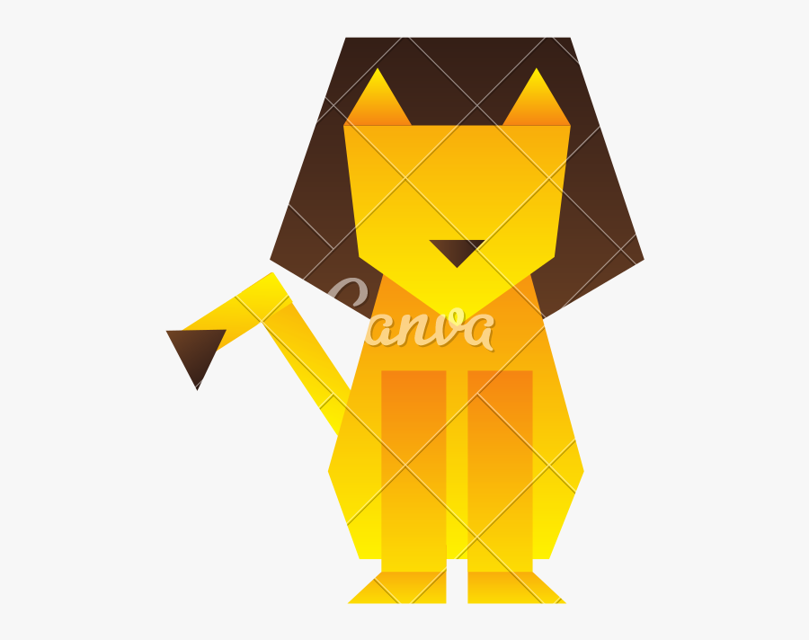 Lion Low Poly Silhouette - Illustration, Transparent Clipart