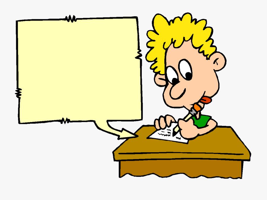 Student Writing - Child Working Hard Cartoon, Transparent Clipart
