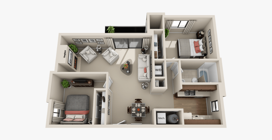 C Floor Plan At Cherry Creek Apartments In Riverdale, - Floor Plan, Transparent Clipart