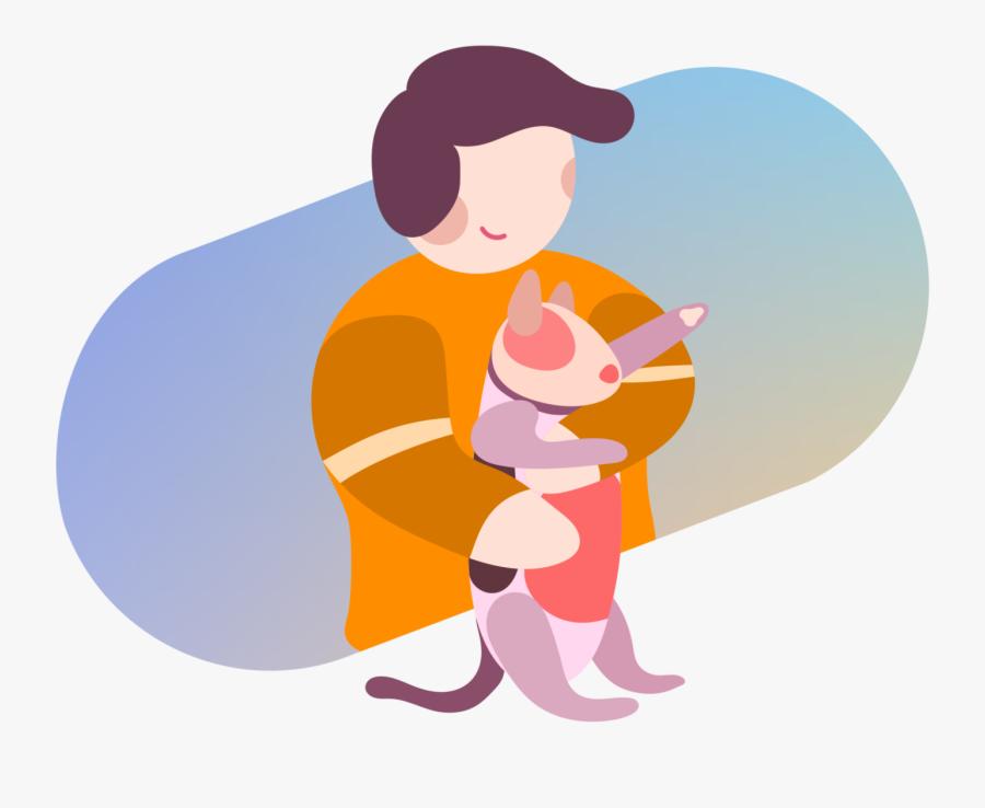 Kid Holding Cat - Cartoon, Transparent Clipart