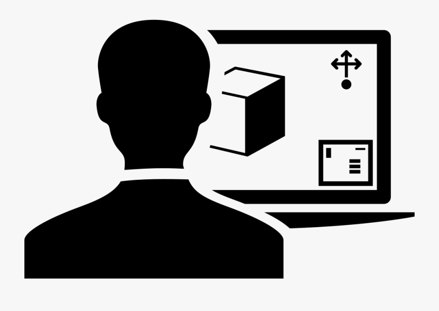 Person Using A 3d Printer By Computer Monitor - Computer 3d Icon Svg, Transparent Clipart