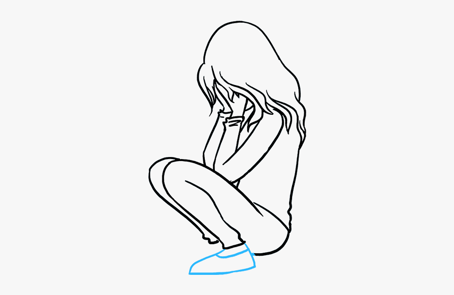 How To Draw Sad Girl Crying - Draw A Sad Girl, Transparent Clipart